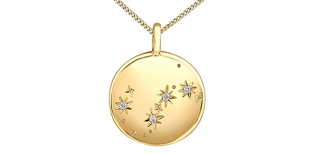 10K Yellow Gold Zodiac Diamond Necklace