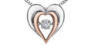 Sterling Silver & Rose Gold Heart Necklace