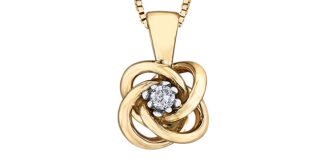 10K Yellow Gold Diamond Knot Necklace