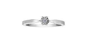 10K White Gold Solitaire Illusion Set Diamond Ring