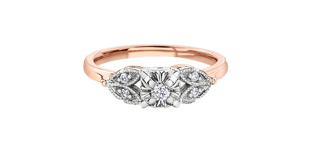 10K Two Tone Diamond Ring