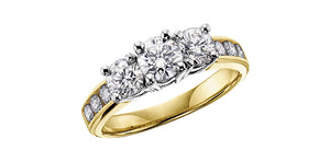 14K Yellow Gold Past Present Future Diamond Ring