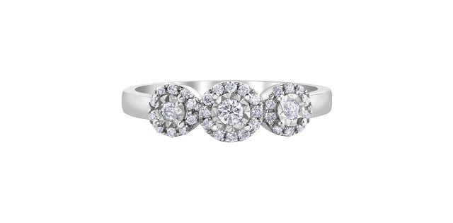10K White Gold Illusion Set Diamond Ring