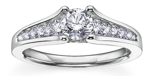 18K White Gold Palladium Channel Set Diamond Ring