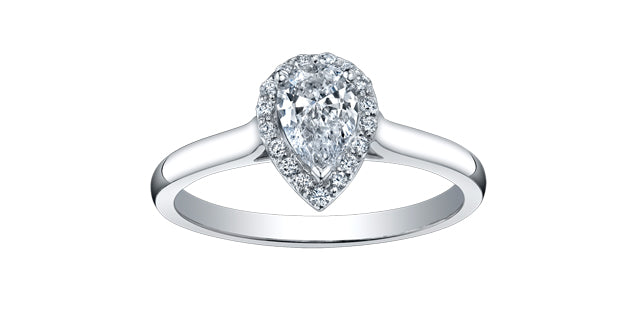 14K White Gold Diamond Pear Shaped Halo Ring