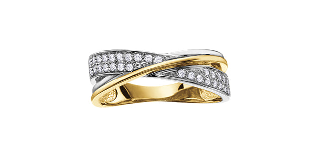 10K Two Tone Crisscross Diamond Ring