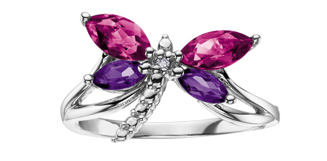 10K White Gold Amethyst & Pink Topaz Dragonfly Ring