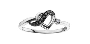 10K White Gold Black Diamond Heart Ring