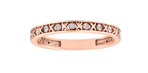 10K Rose Gold Diamond XO Ring