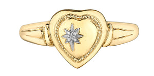 10K Yellow Gold Diamond Heart Locket Ring