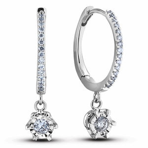 10K White Gold Diamond Hoop Earrings