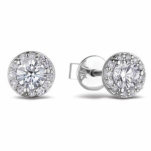 10K White Gold Diamond Halo Earrings