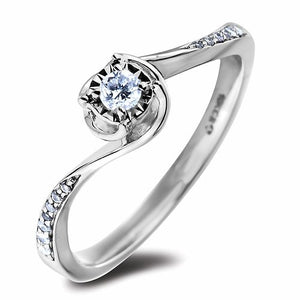 10K Diamond Wave Engagement Ring