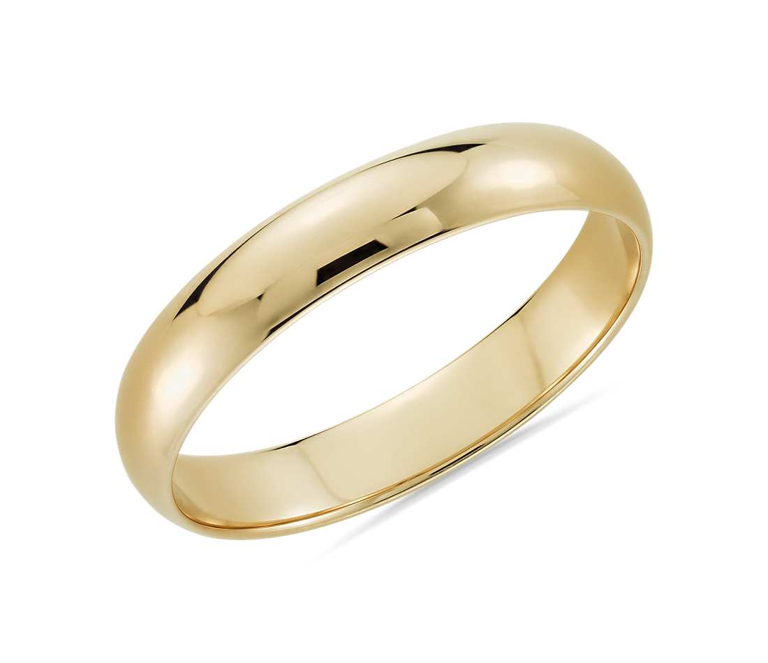 10K Yellow Gold Traditional Wedding Band 4MM