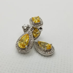 Sterling Silver Yellow Cubic Earrings