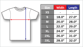 Mens Fashion Fit Tee sizing chart