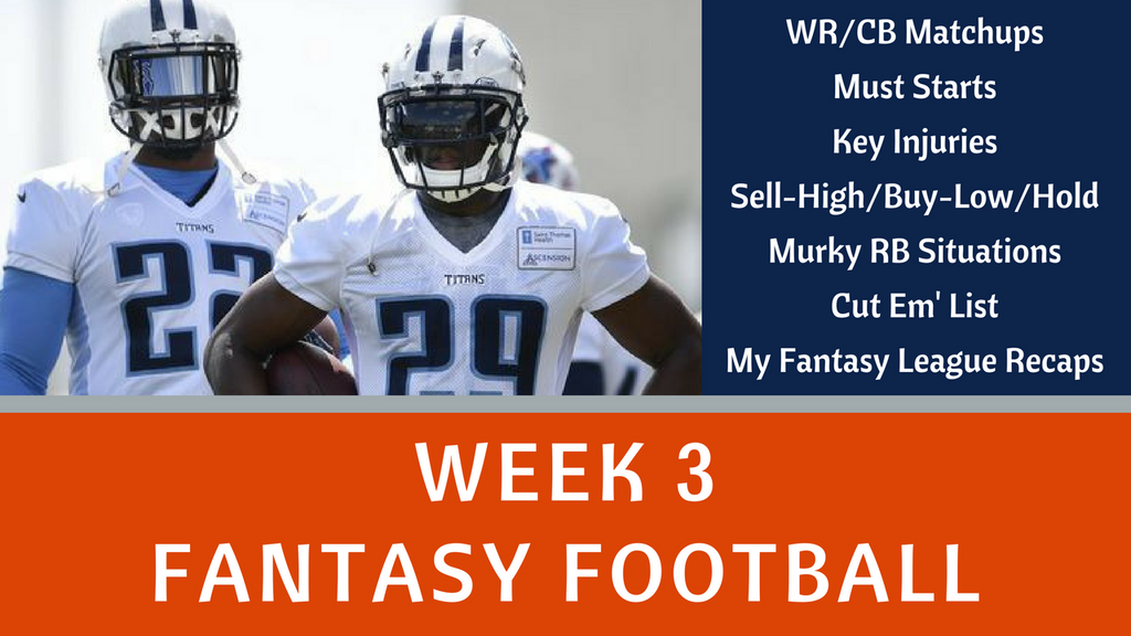 Fantasy Football Week 3 - YouTube Video Notes