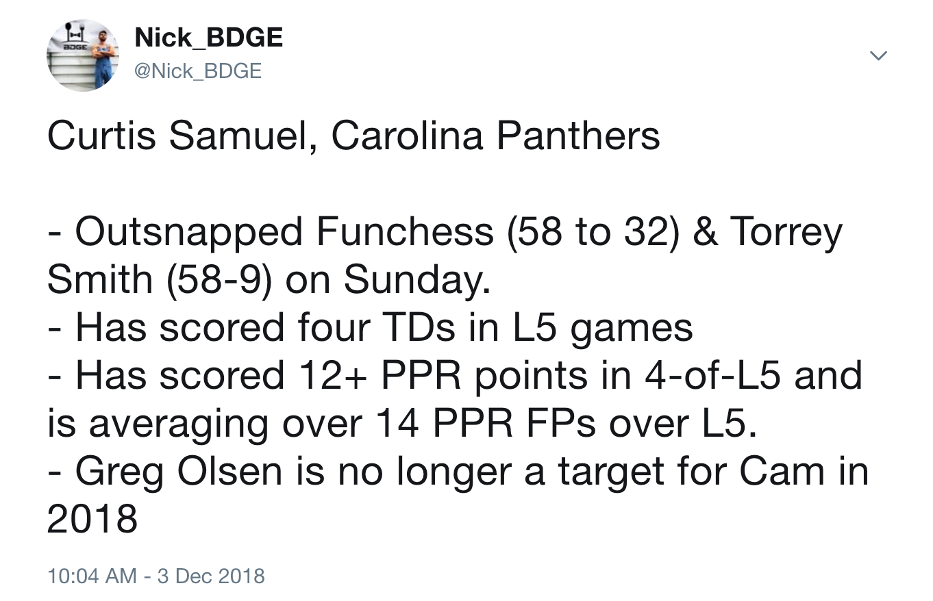 curtis samuel fantasy football week 14