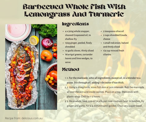Barbecued Whole Fish With Lemongrass And Turmeric