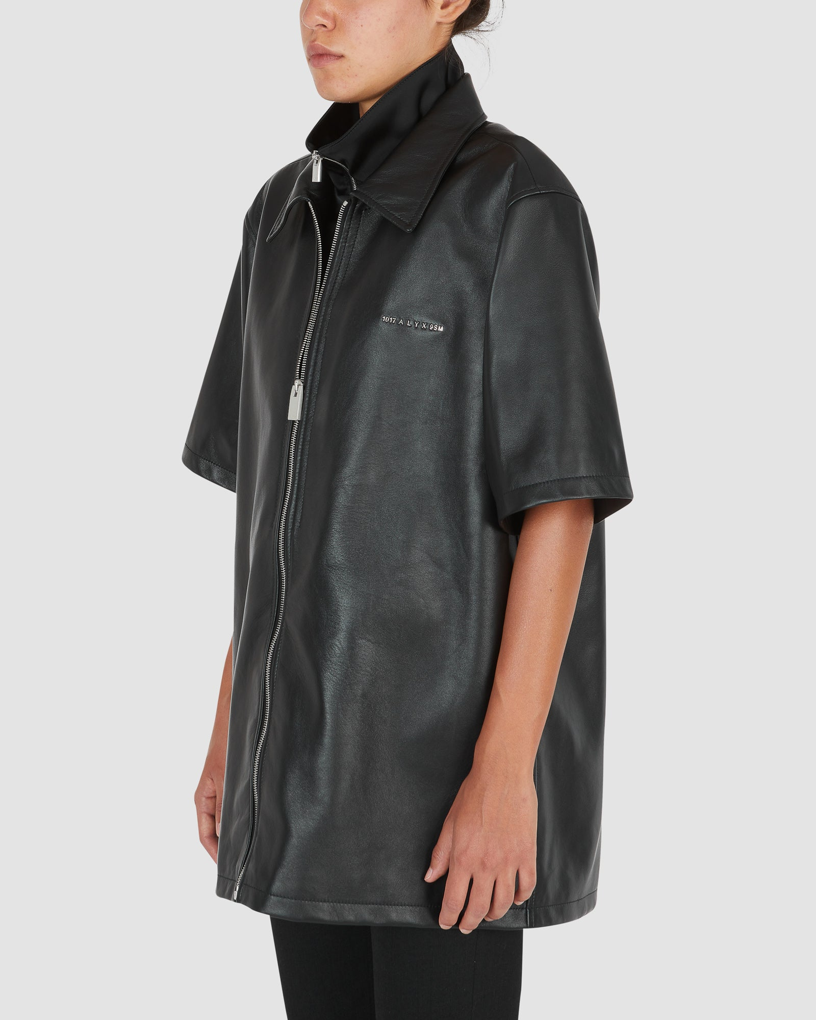LEATHER DOUBLE COLLAR S/S SHIRT