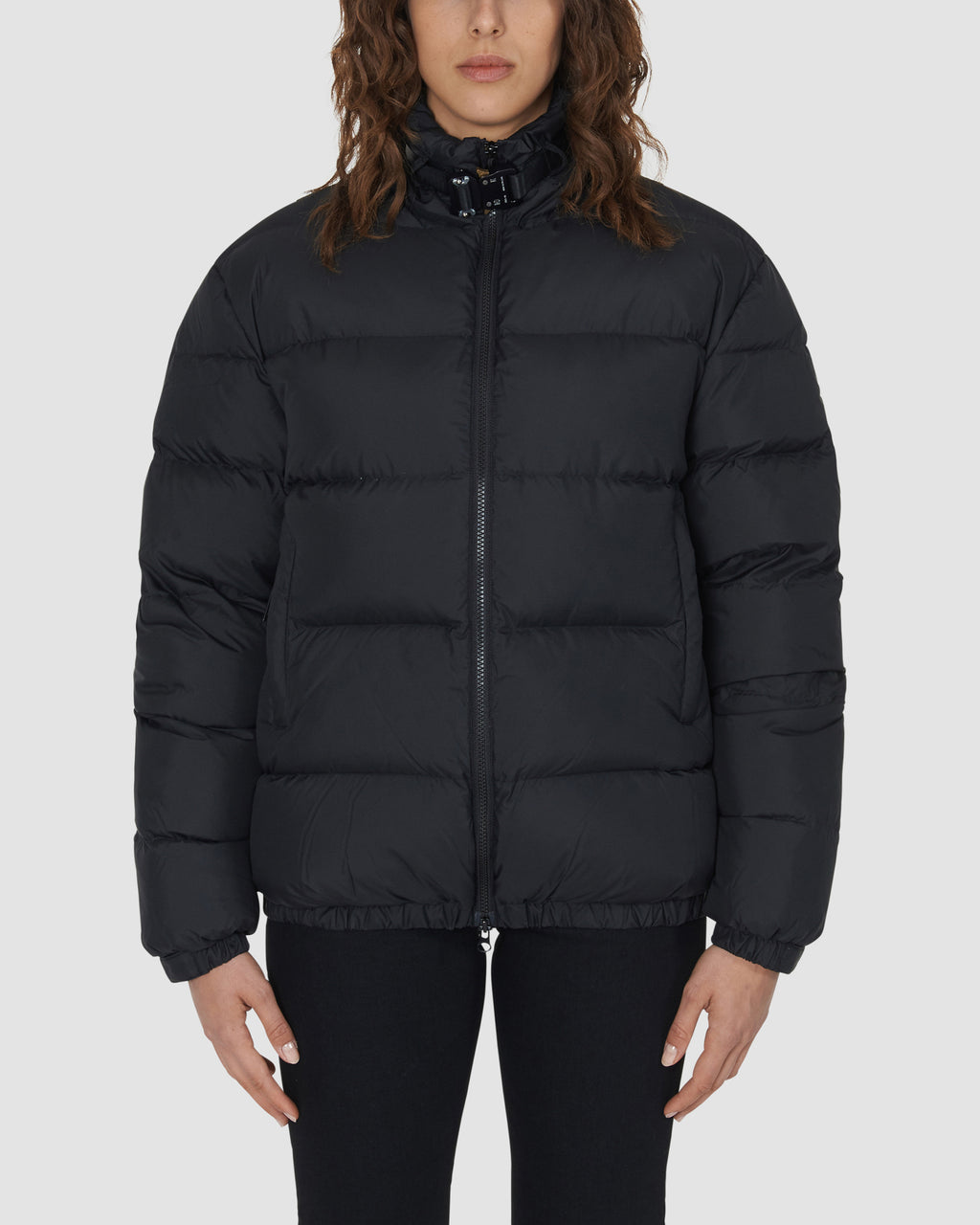 PUFFER COAT W METAL BUCKLE