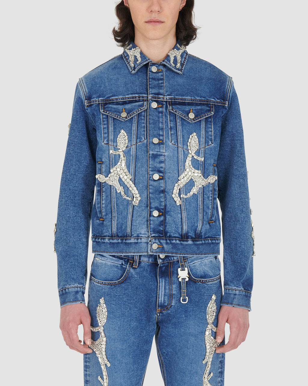 CLASSIC DENIM JACKET WITH DIAMANTI RUNWAY MADE TO ORDER