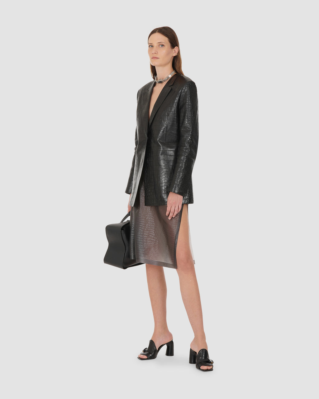 LEATHER SINCH BLAZER