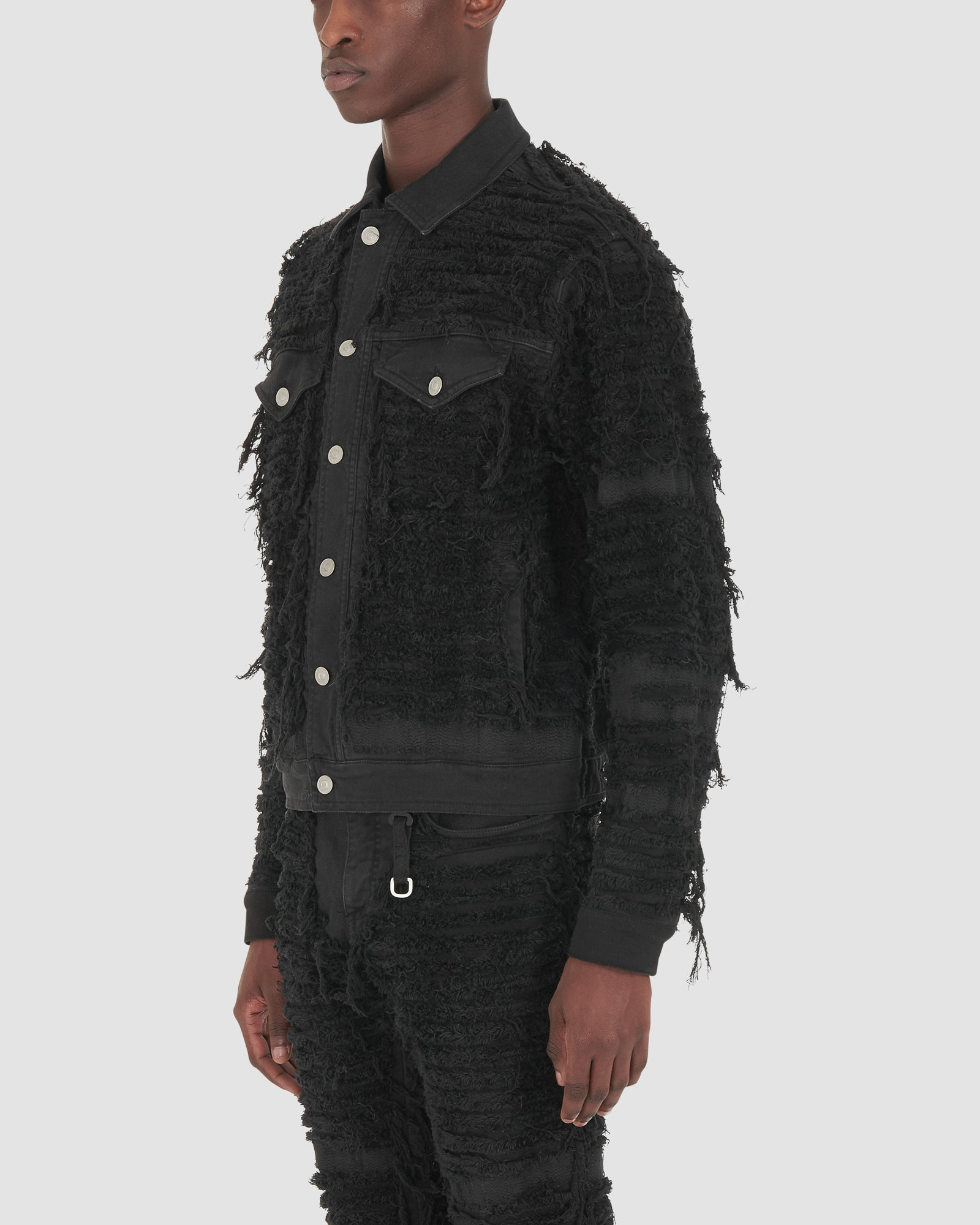 DENIM JACKET BLACKMEANS WITHOUT STUDS