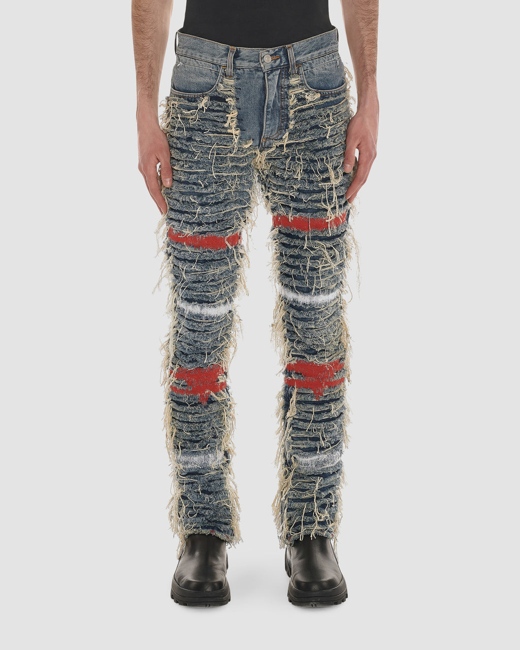 BLACKMEANS SHREDDED DENIM