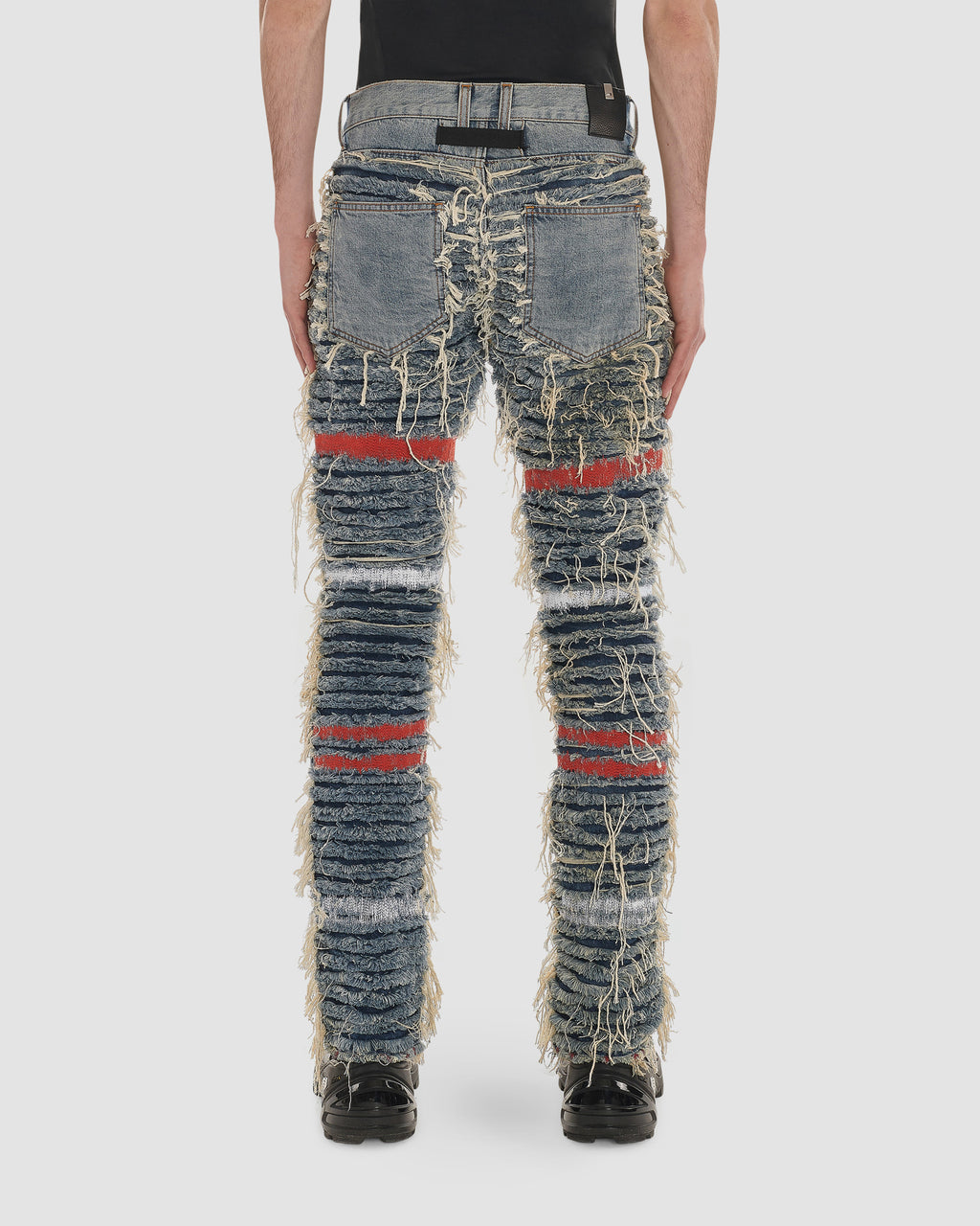 1017 ALYX 9SM | BLACKMEANS SHREDDED DENIM | Pants | BLACKMEANS, Blue, F19