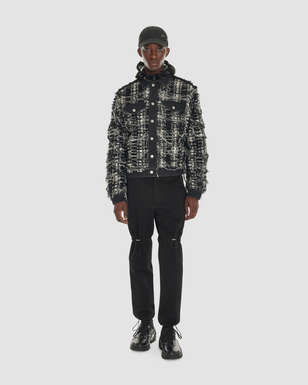 SPIDER PLAID DENIM JACKET