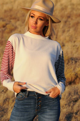Contrasting Stripe Sleeve Top