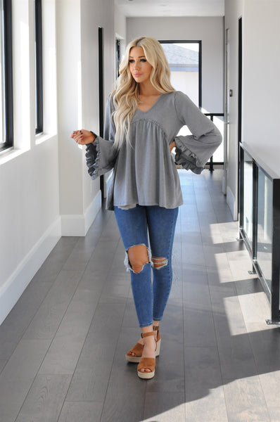 Wide Sleeve Ruffle Blouse