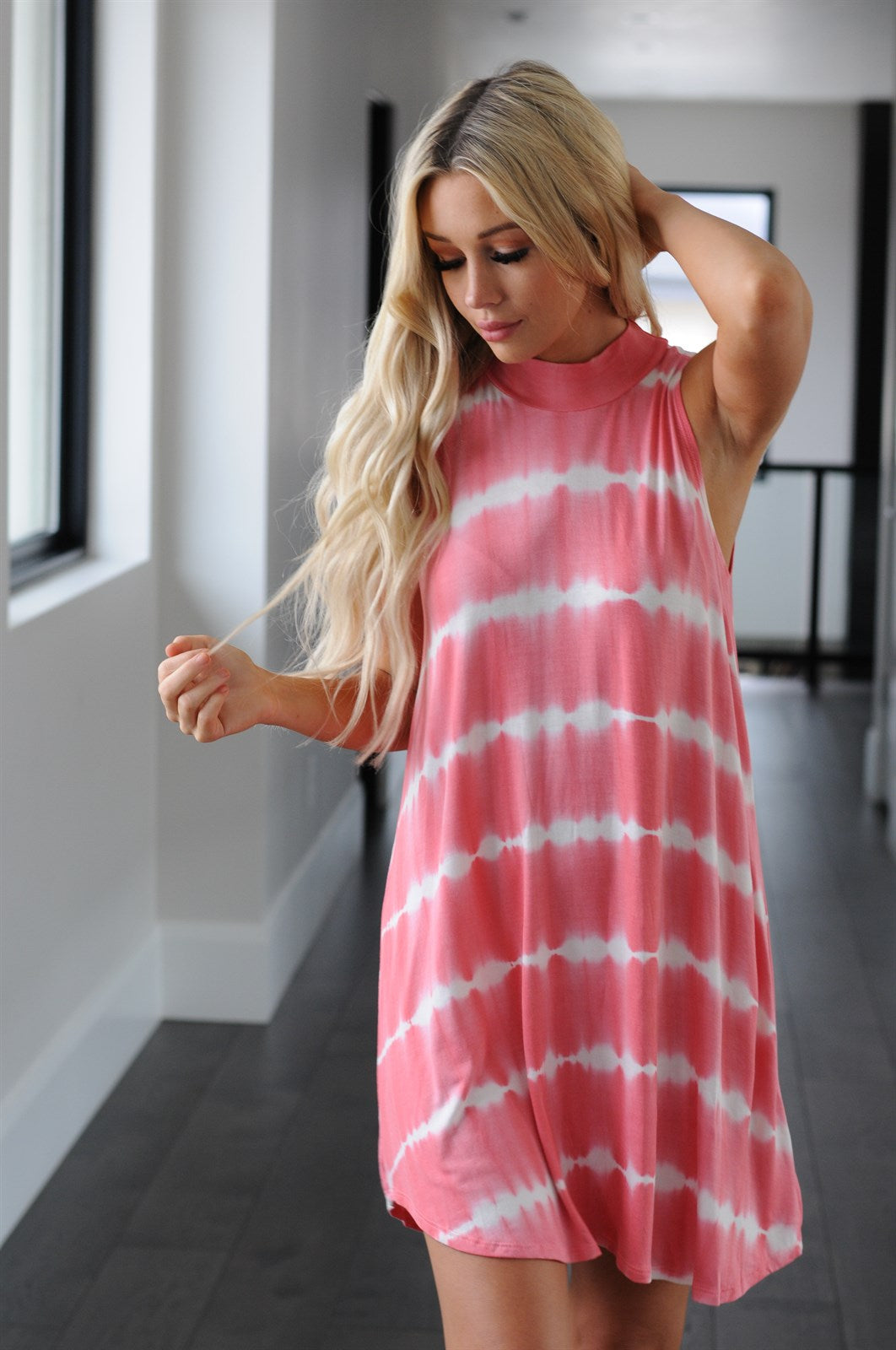 Tie Dye High Neck Tank Dress