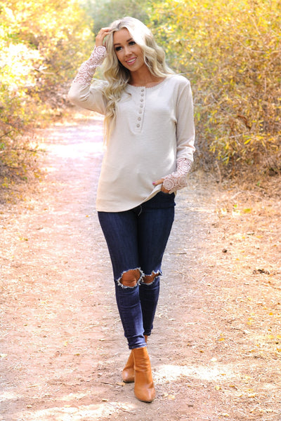 Crochet Detailed Sleeve Top