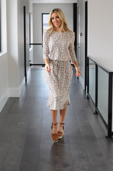 Comfy Leopard Tie Waist Midi Dress