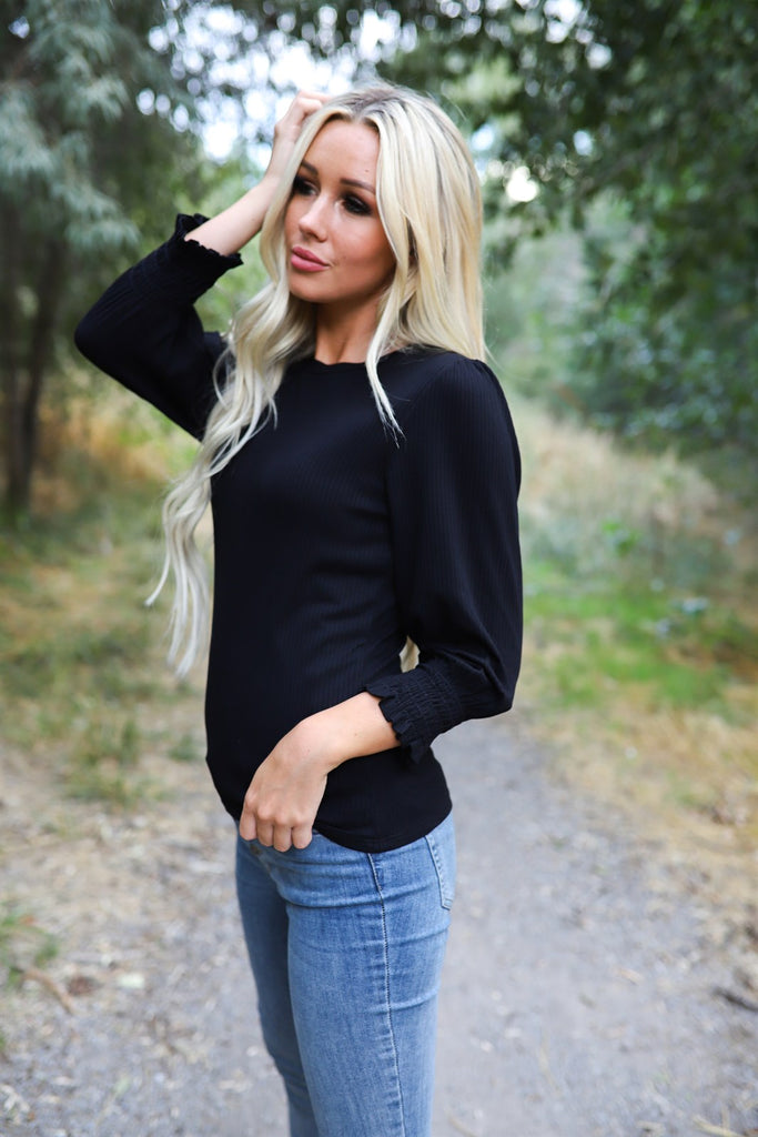 Ribbed bubble sleeve tops