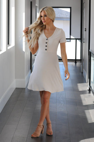 Flirty Button Front Fit and Flare Dress