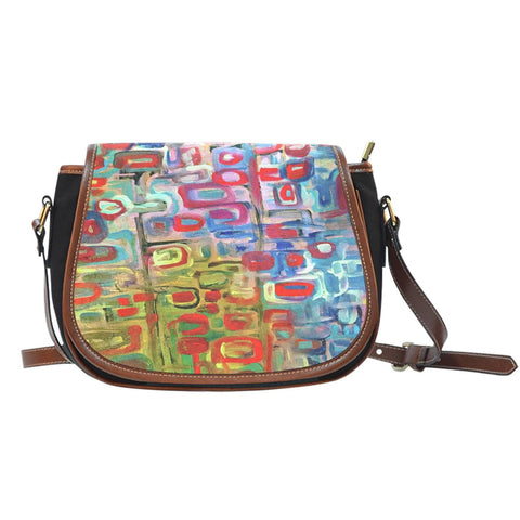 Boho Chic Abstract Trees Painted Cross Body Bag