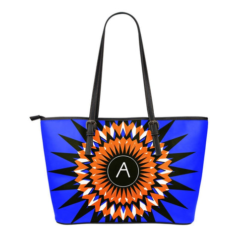 Blue and Orange Geometric Monogram Small Leather Tote