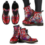 Women's Red Peace Love Paint Splatter Boots