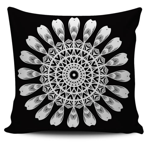 White on Black Mandala Pillow Cover