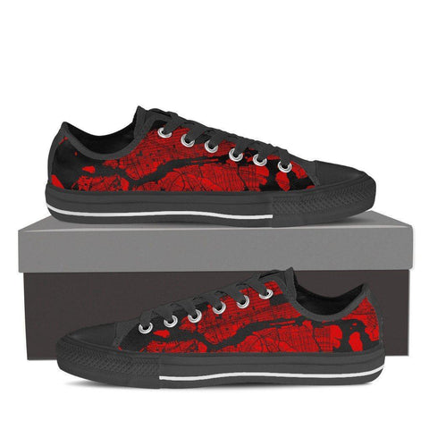 Women's NYC Map Low Top Red