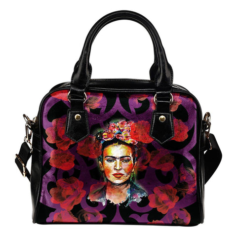 Women's Frida Kahlo Red Flowers Purse