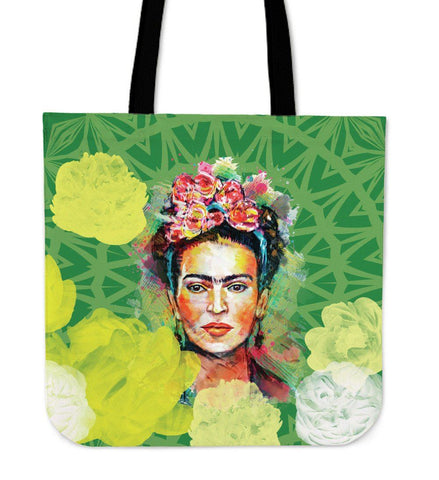 Frida Kahlo Green Canvas Tote