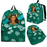 Frida Kahlo Backpack - Green Flower