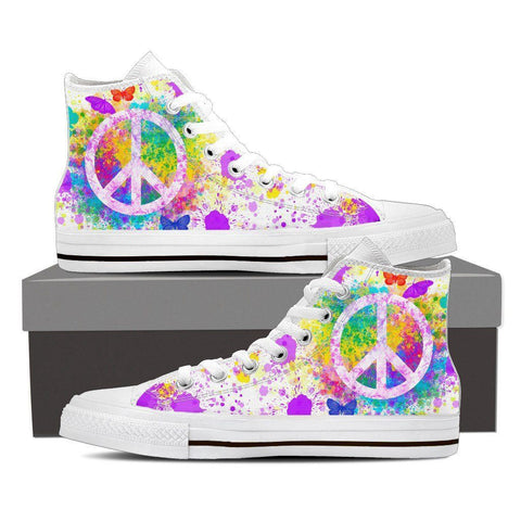 Women's Paint Splatter Peace Sign High Tops (white)