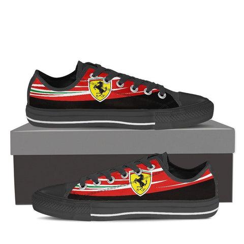 Men's Red Italian F1 Low Tops Black
