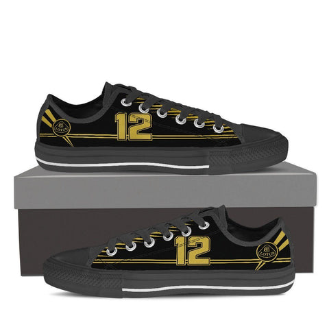 Men's Black and Gold F1 Low Tops Black