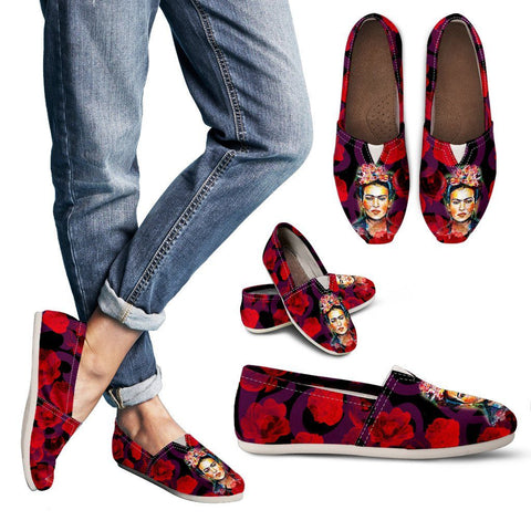 Women's Frida Kahlo Red Flowers Casual Shoes